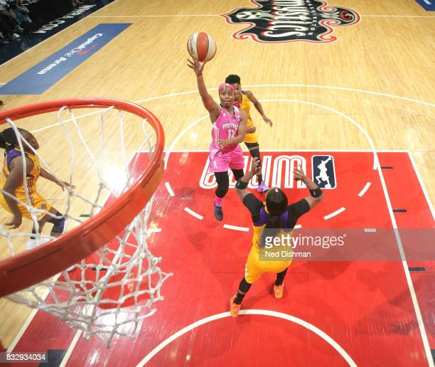 Ivory Latta of the Washington Mystics shoots the ball against the Los Angeles Sparks on August 16 2017 at the Verizon Center in Washington DC NOTE TO...