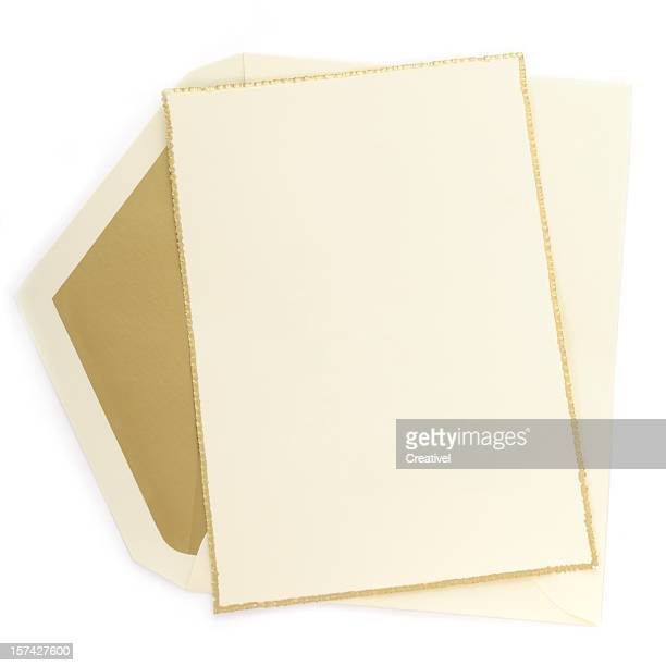 Ivory paper blank card with gold border, matching lined envelope