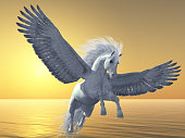 Pegasus is a mythical white divine horse with long flowing mane and tail rises into the sky with powerful wings beats.