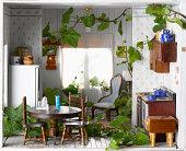 Ivy crescente dentro de casa modelo, close-up