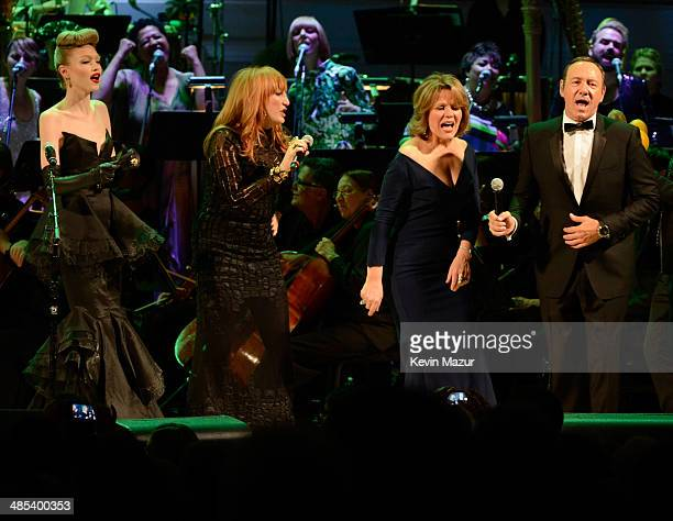 Ivy Levan Patti Scialfa Renee Fleming and Kevin Spacey perform onstage during The 2014 Revlon Concert For The Rainforest Fund at Carnegie Hall on...