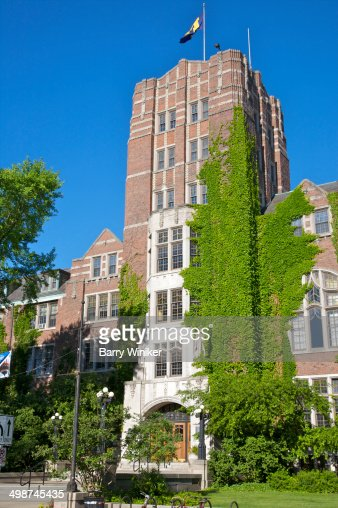 Ivy on tower above entrance to student building