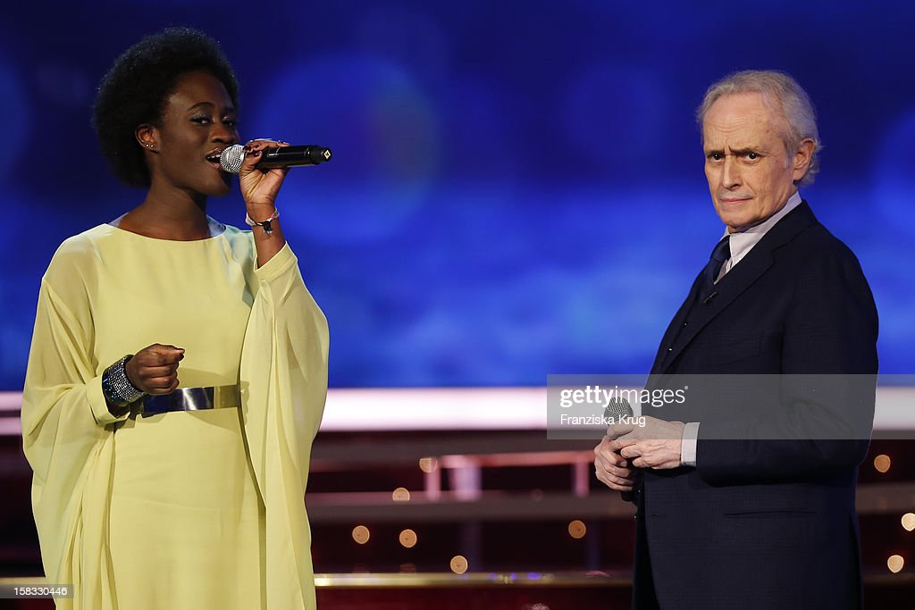 Ivy Quainoo and Jose Carreras perform during the 18th Annual Jose Carreras Gala Rehearsals on December 13 2012 in Leipzig Germany