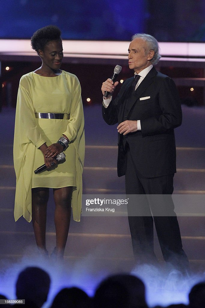 Ivy Quainoo and Jose Carreras perform during the 18th Annual Jose Carreras Gala on December 13, 2012 in Leipzig, Germany.