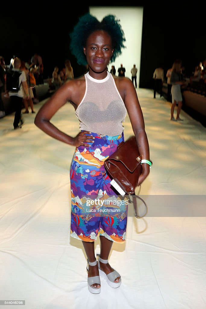 Ivy Quainoo attends the Lana Mueller show during the Mercedes-Benz Fashion Week Berlin Spring/Summer 2017 at Erika Hess Eisstadion on July 1, 2016 in Berlin, Germany.