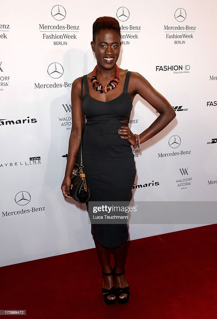 Ivy Quainoo attends the Miranda Konstantinidou Arrivals at Brandenburg Gate on July 5, 2013 in Berlin, Germany.