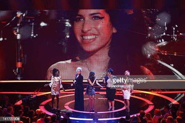 Ivy QuainooIna MuellerDionne Bromfield Caro Emerald and Aura Dione perform a Tribute to Amy Winehouse at the Echo Awards 2012 at Palais am Funkturm...
