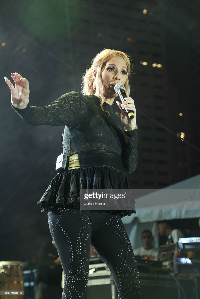 Ivy Queen performs at the Zolazo concert at Bayfront Park Amphitheater on September 15, 2013 in Miami, Florida.