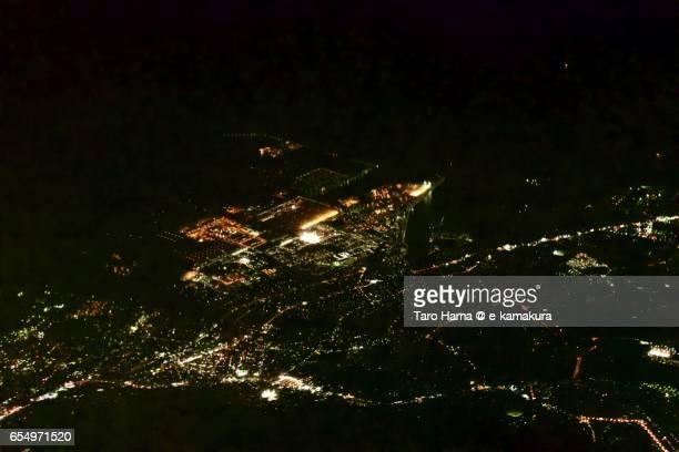 Iwakuni city, night aerial view from airplane