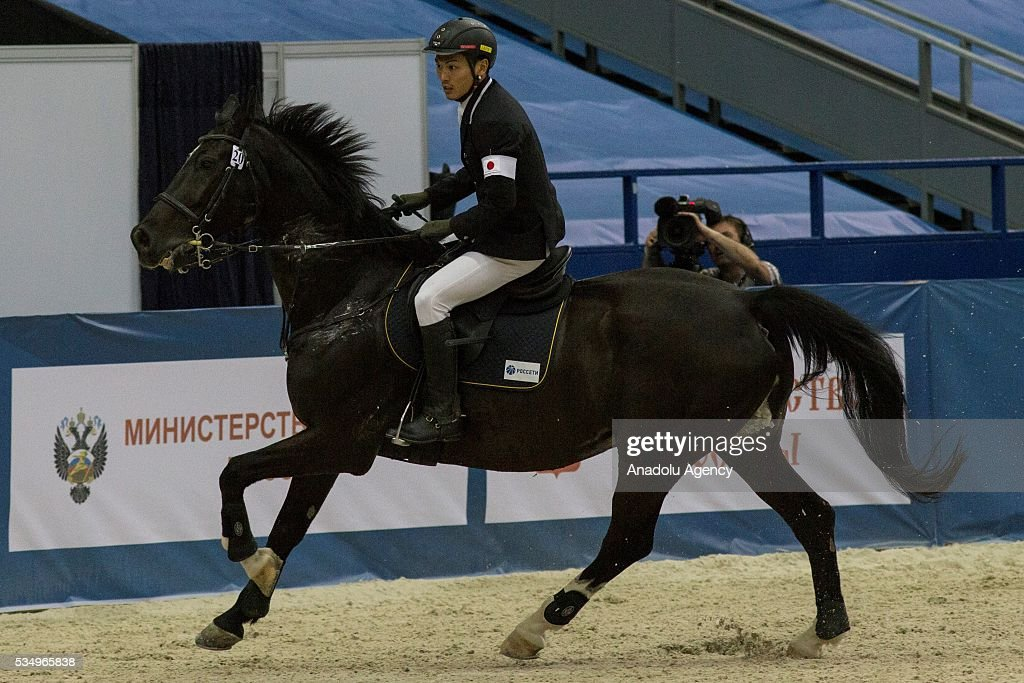 Iwamoto Shohei of Japan competes in during the men's riding final at the World Championship in modern pentathlon at the Olympic Sports Complex in Moscow, Russia, on May 28, 2016.