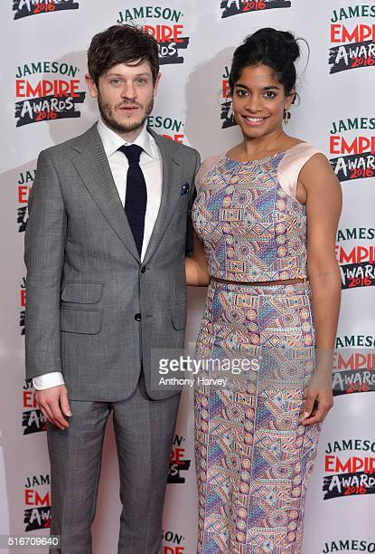 Iwan Rheon and Amara Karan pose in the winners room at the Jameson Empire Awards 2016 at The Grosvenor House Hotel on March 20 2016 in London England