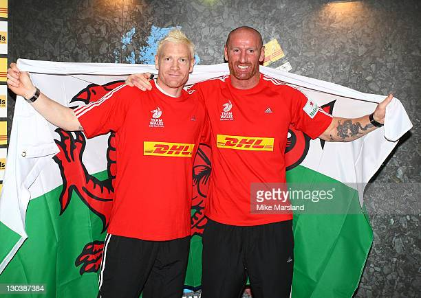 Iwan Thomas and Gareth Thomas attend 'DHL First Nation Home For Sport Relief' at Hilton Park Lane on October 26 2011 in London England