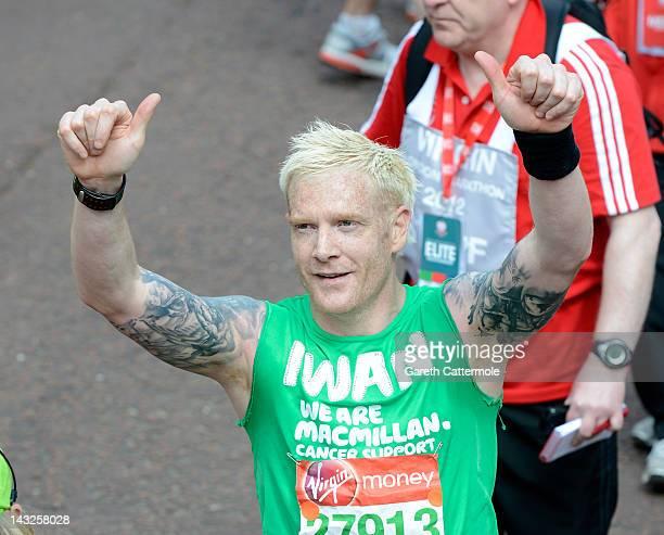 Iwan Thomas completes the Virgin London Marathon on April 22 2012 in London England on April 22 2012 in London England