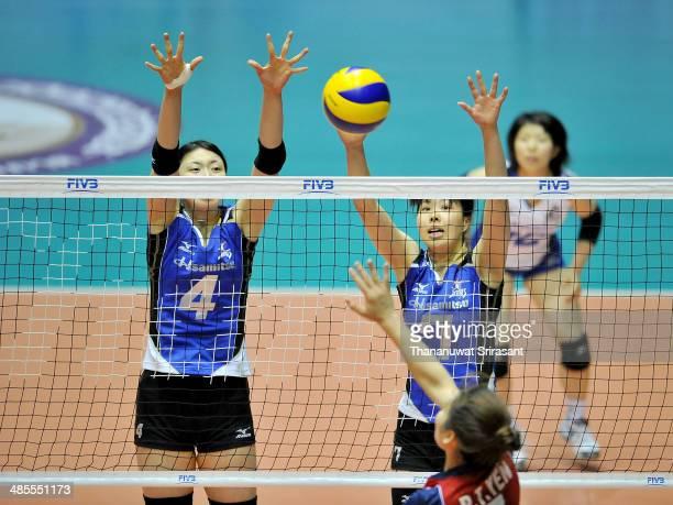 Iwasaka Nana and Tsutsui Mihoko of Hisamitsu block Pham Thi Yen of Thon Tin Lienvietpostbanl spikes during the FIVB 17th Princess Cup Asian Women's...