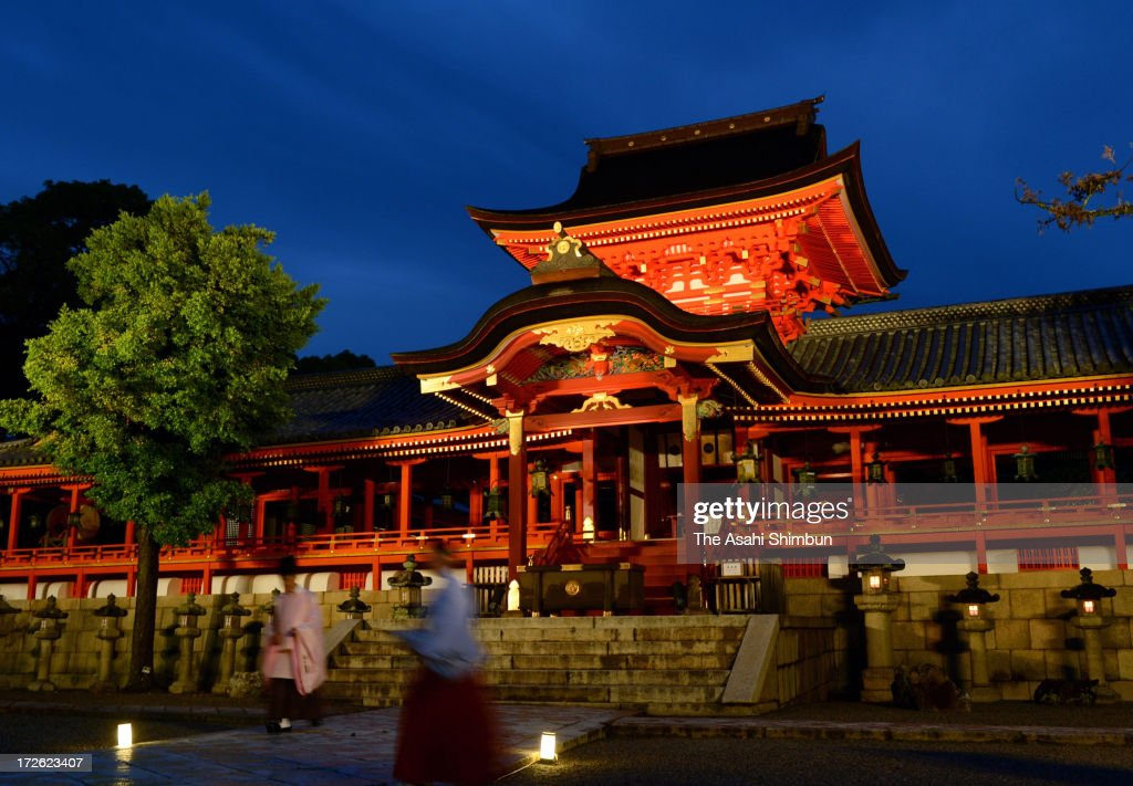 Iwashimizu Hachimangu Shrine is illuminated during its test illumination on July 3, 2013 in Yawata, Kyoto, Japan. The illumination will be held from July 13 to the end of August.