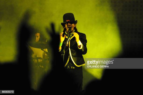 Ixaya Matatzin Tleyotl singer of the Cafe Tacvba mexican band perform March 8 2009 at Tegucigalpa during a concert in which they made a review of...