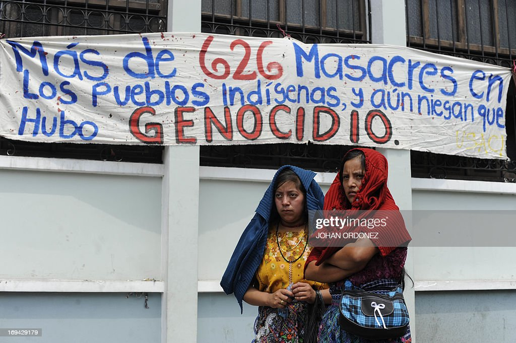 Ixil indigenous people survivors of Guatemalan civil war protest against the quashing of the 80year sentence for genocide of former Guatemalan...
