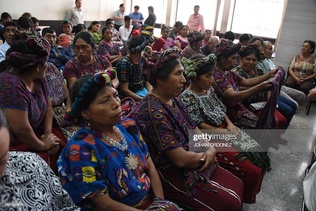 Ixil indigenous women attend a hearing during the genocide trial of former dictator Efrain Rios Montt in Guatemala City on August 25 2015 A...