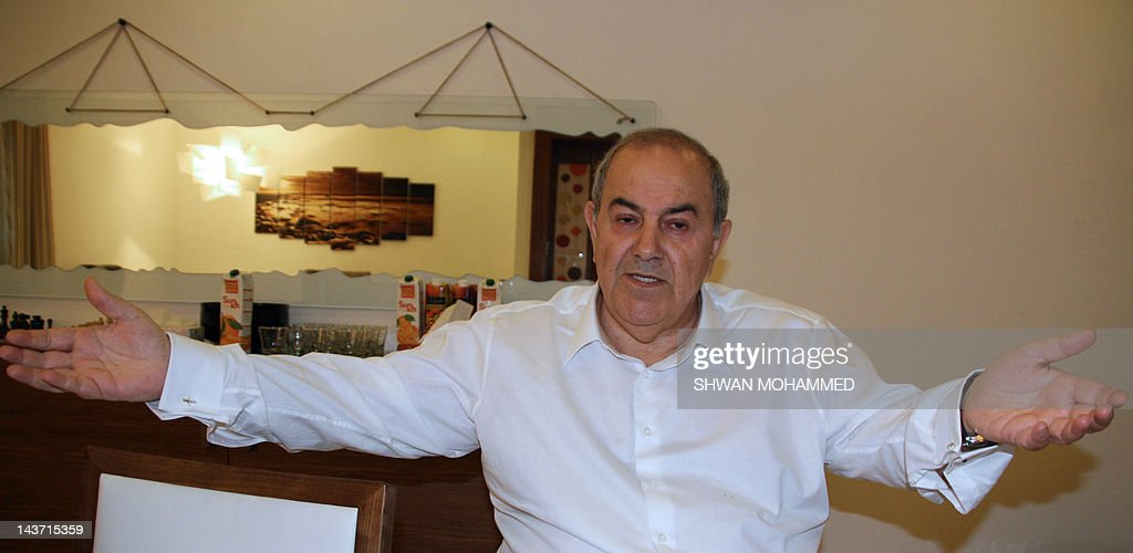 Iyad Allawi, a secular Shiite who is leader of Iraq's mostly Sunni-backed Iraqiya bloc, speaks during an interview with AFP in the Kurdish city of Sulaimaniyah in northern Iraq on May 3, 2012, as the trial in absentia of Iraqi Vice President Tareq al-Hashemi was delayed a week after his lawyers called for it to be held in a special court. Allawi dismissed the case as politicised.