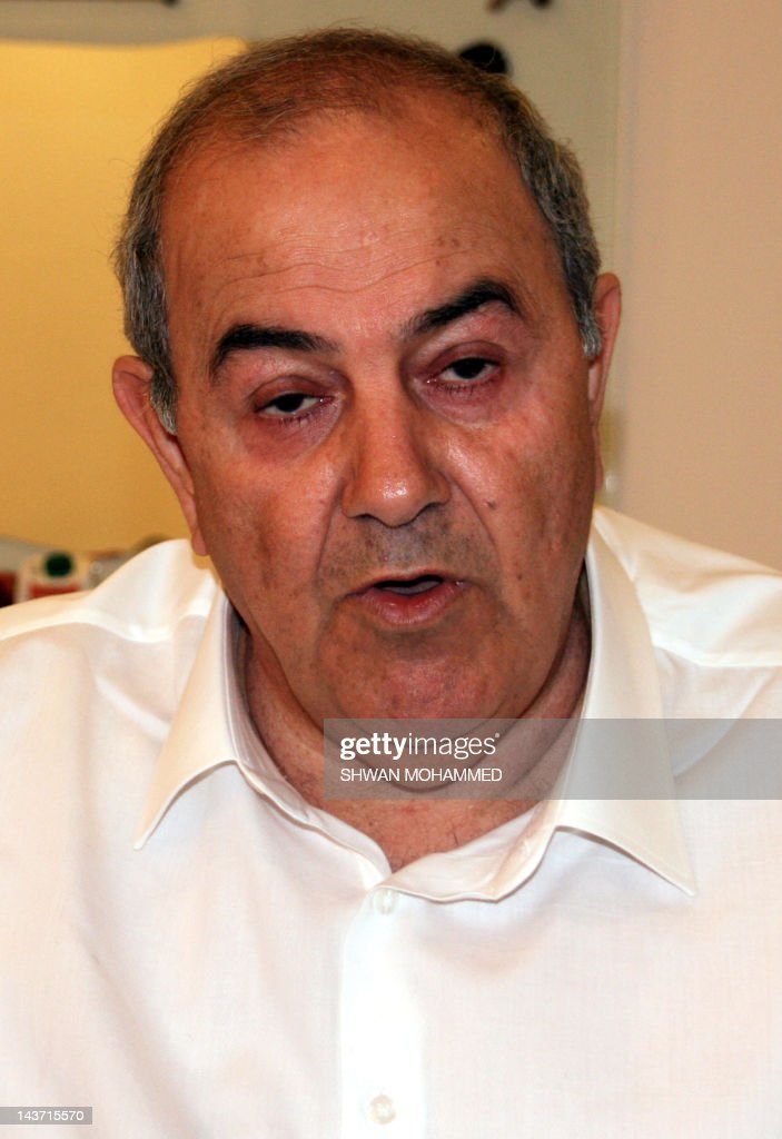 Iyad Allawi, a secular Shiite who leads Iraq's mostly Sunni-backed Iraqiya bloc, speaks during an interview with AFP in the Kurdish city of Sulaimaniyah in northern Iraq on May 3, 2012, as the trial in absentia of Iraqi Vice President Tareq al-Hashemi was delayed a week after his lawyers called for it to be held in a special court. Allawi dismissed the case as politicised. AFP PHOTO/SHWAN MOHAMMED