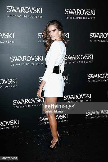 Izabel Goulart attends the Swarovski 120 X Rizzoli Exhibition and Cocktail as part of the Paris Fashion Week Womenswear Spring/Summer 2016 on...