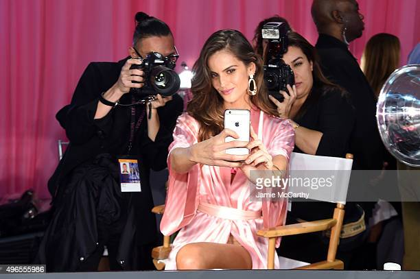 Izabel Goulart is seen backstage before the 2015 Victoria's Secret Fashion Show at Lexington Avenue Armory on November 10 2015 in New York City