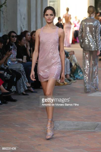 Izabel Goulart walks the runway at the Alberta Ferretti show during Milan Fashion Week Spring/Summer 2018 on September 20 2017 in Milan Italy