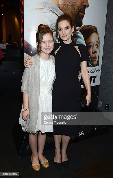 Izabela Vidovic and Winona Ryder attend the 'Homefront' premiere at Planet Hollywood Resort Casino on November 20 2013 in Las Vegas Nevada