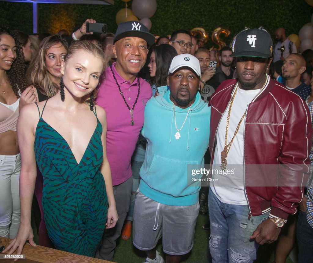 Izabella Miko, Russell Simmons, O'Neal McKnight and Sean Diddy Combs attend Russell Simmons' 60th Birthday Party at his Tantris Yoga Center on October 6, 2017 in West Hollywood, California.