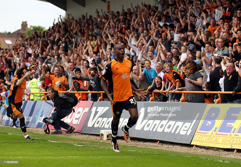 Izale McLeod of Barnet celebrates after making it 1-0 during the npower League Two match between Barnet and Port Vale at Underhill Stadium on May 7, 2011 in Barnet, England.