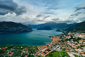 Izeo lake and village  in italy
