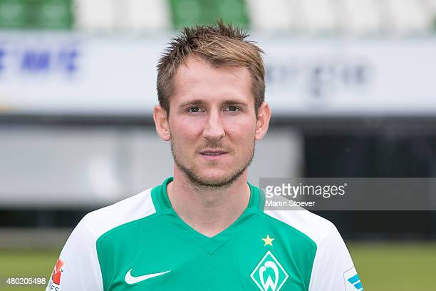 Izet Hajrovic poses during the official team presentation of Werder Bremen at Weserstadion on July 10 2015 in Bremen Germany
