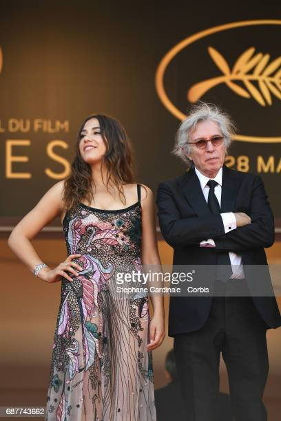 Izia Higelin and director Jacques Doillon attend the 'Rodin' premiere during the 70th annual Cannes Film Festival at Palais des Festivals on May 24...
