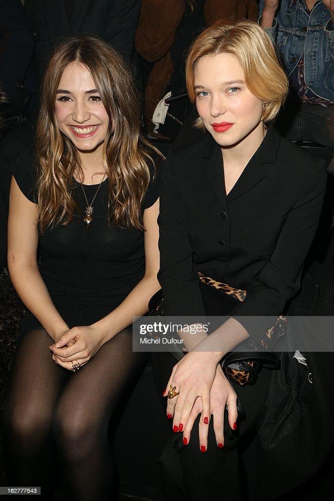 Izia Higelin and Lea Seydoux attend the Etam Live Show Lingerie at Bourse du Commerce on February 26, 2013 in Paris, France.