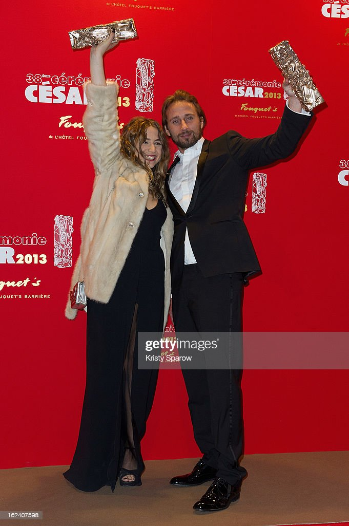 Izia Higelin and Matthias Schoenaerts pose with their trophies after winning the Best Newcomer Actor awards during the Cesar Film Awards 2013 at Le Fouquet's on February 22, 2013 in Paris, France.