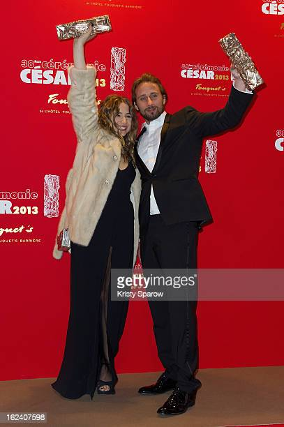Izia Higelin and Matthias Schoenaerts pose with their trophies after winning the Best Newcomer Actor awards during the Cesar Film Awards 2013 at Le...