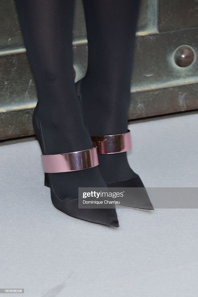 Izia Higelin (shoe detail ) arrives at the Christian Dior Fall/Winter 2013 Ready-to-Wear show as part of Paris Fashion Week on March 1, 2013 in Paris, France.