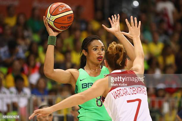 Iziane Castro of Brazil looks to pass during the Women's round Group A basketball match between Brazil and Turkey on Day 7 of the Rio 2016 Olympic...