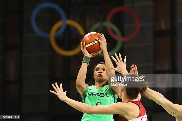 Iziane Castro of Brazil shoots during the Women's round Group A basketball match between Brazil and Turkey on Day 7 of the Rio 2016 Olympic Games at...