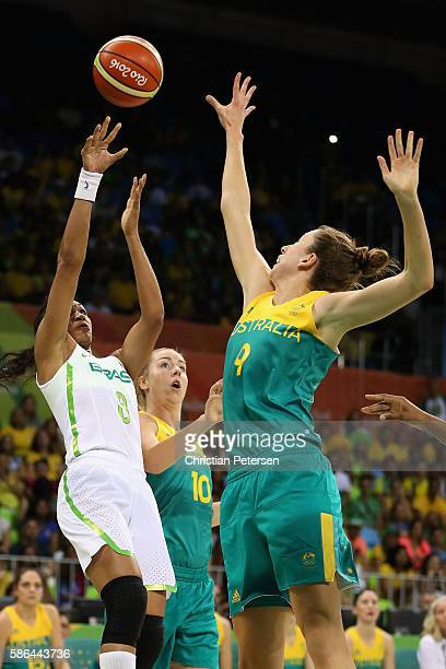 Iziane Marques of Brazil attempts a shot over Natalie Burton of Australia during a Women's Basketball Preliminary Round game on Day 1 of the Rio 2016...