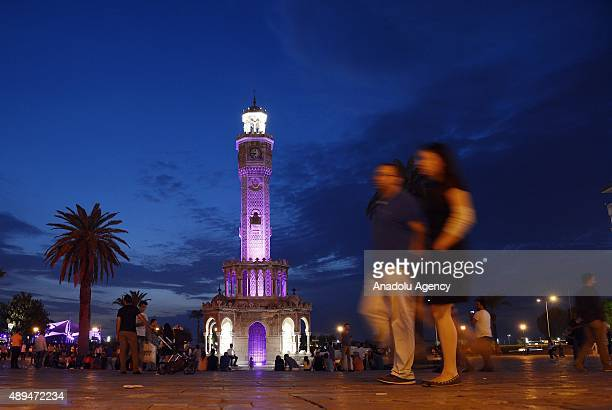 Izmir Clock Tower is illuminated with purple lights to attract attention to alzheimer in Izmir Turkey on September 21 2015 Purple is the official...