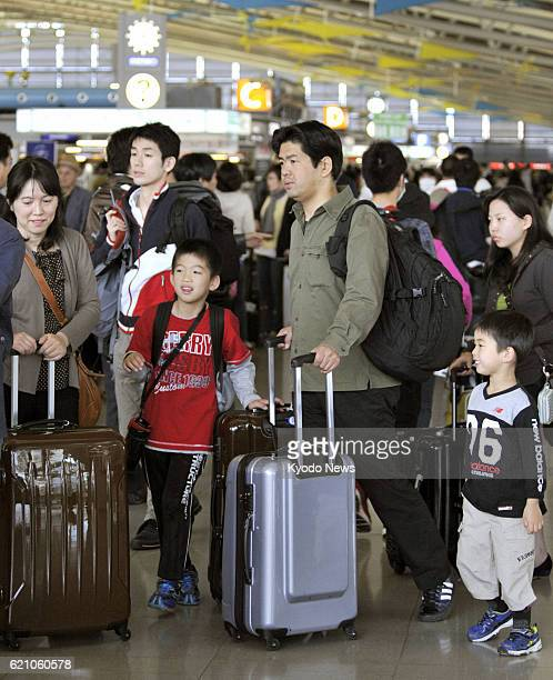 Izumisano Japan Kansai airport in Osaka Prefecture is crowded with people departing for overseas destinations on April 27 as Japan entered the Golden...