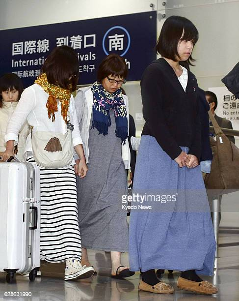 Izumisano Japan Nahomi Tomita Aya Morizono and Atsumi Yoshidome arrive at Kansai International Airport near Osaka western Japan from Indonesia on Feb...