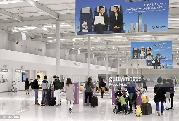 Izumisano Japan Only a small number of people are seen in Peach Aviation's terminal at Kansai International Airport near Osaka western Japan on May...