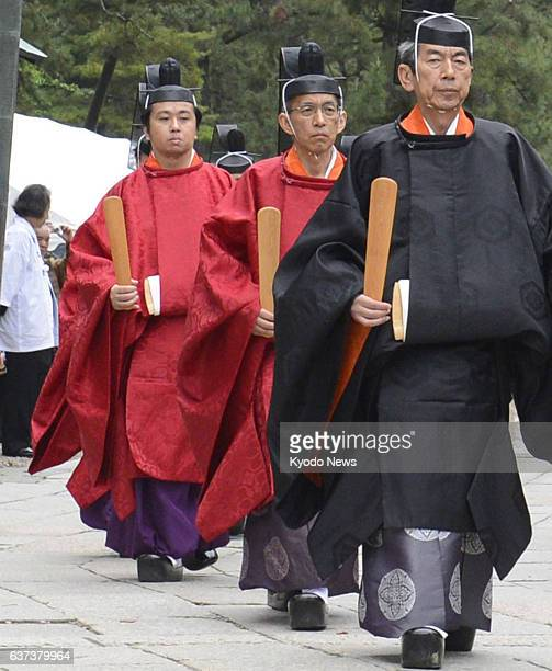 Izumo Japan File photo taken May 11 shows priest Kunimaro Senge and other priests during a rite at Izumotaisha or Izumo grand shrine in Shimane...
