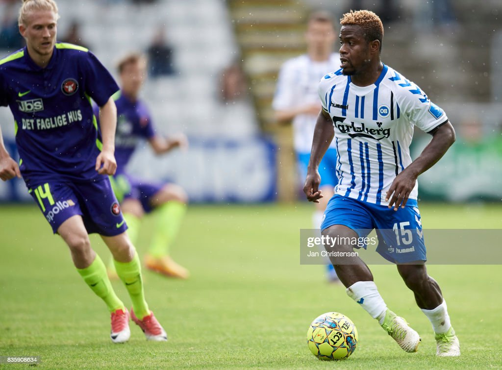 Izunna Uzochukwu of OB Odense controls the ball during the Danish Alka Superliga match between OB Odense and FC Midtjylland at TREFOR Park on August 20, 2017 in Odense, Denmark.