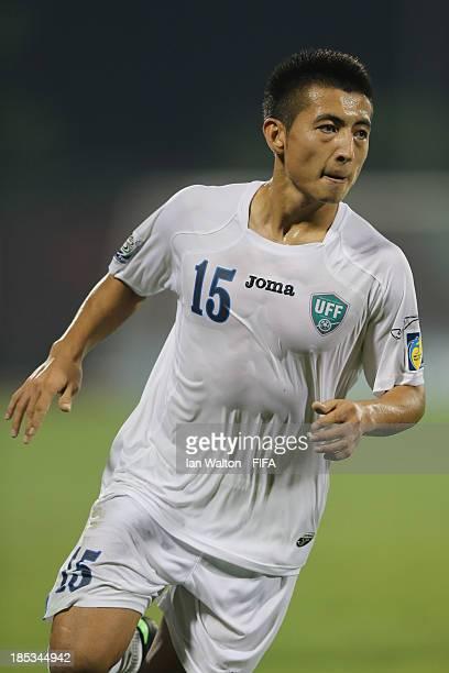 Izzatilla Abdullaev of Uzbekistan during the Group C FIFA U17 World Cup between Panama and Uzbekistan at Fujairah Stadium on October 18 2013 in...