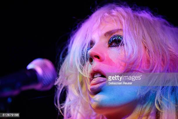 Izzy B Phillips of Black honey performs at the Just Cavalli Party With Live Performance By Black Honey on February 27 2016 in Milan Italy