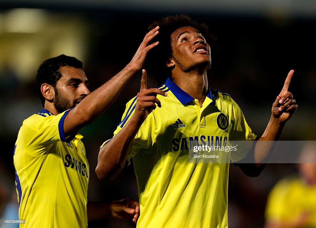 Izzy Brown of Chelsea celebrates scoring a goal duing the pre season friendly match between Wycombe Wanderers and Chelsea at Adams Park on July 16, 2014 in High Wycombe, England.