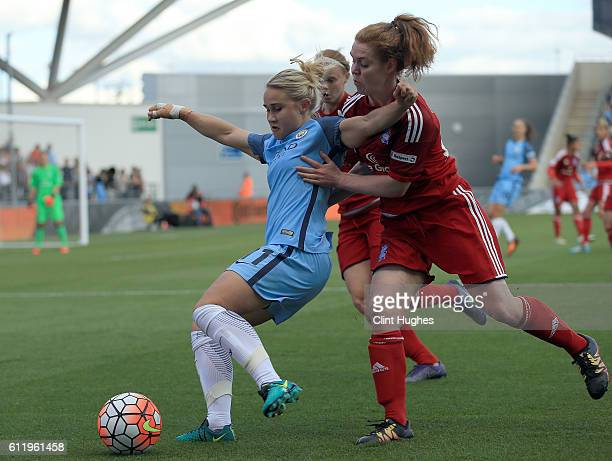 Izzy Christiansen of Manchester City Women and Aoife Mannion of Birmingham City Ladies battle for the ball during the Continental Cup Final between...